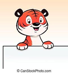 caricatura, cachorro de tigre, marco, frontera