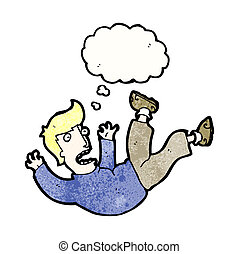caricatura, caer, hombre