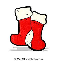 caricatura, calcetines, navidad