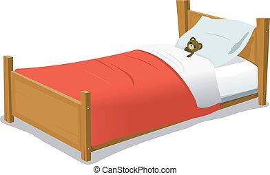 caricatura, cama, con, osito de peluche