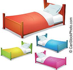 caricatura, cama, conjunto