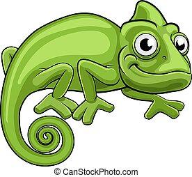 caricatura, camaleão