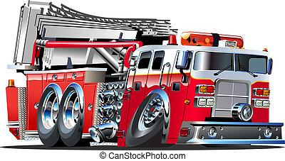 caricatura, camión de fuego