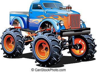 caricatura, camión gigantesco