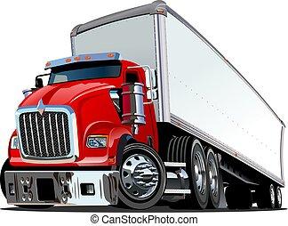 caricatura, camión, semi