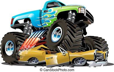caricatura, camión, vector, monstruo