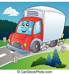 caricatura, caminhão entrega, ligado, estrada