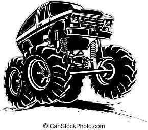 caricatura, caminhão monstro