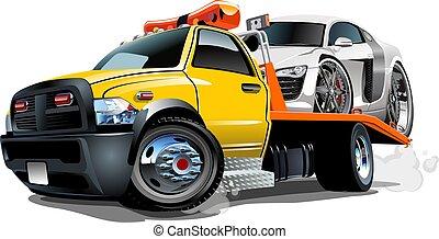 caricatura, caminhão reboque