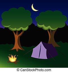 caricatura, campsite