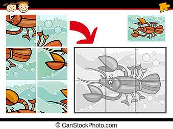 caricatura, cangrejo río, rompecabezas, juego