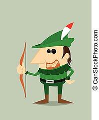 caricatura, capuz,  Robin