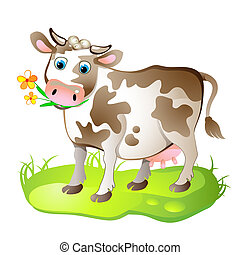 caricatura, carácter, de, vaca