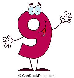 caricatura, carácter, feliz, números, 9