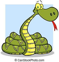 caricatura, carácter, serpiente, mascota