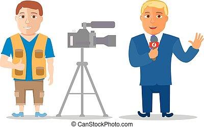 caricatura, caráteres, repórter, com, cameraman., vetorial