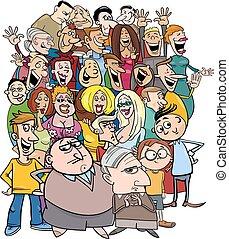caricatura, caráteres, torcida, pessoas