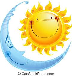 caricatura, caracteres, sol, y, luna, día y noche, concepto