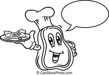 caricatura, carne, com, bolha, fala