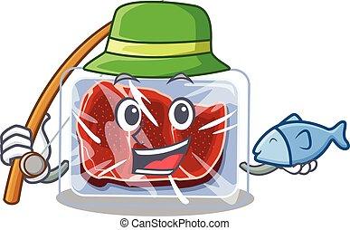 caricatura, carne, desenho, enquanto, conceito, pesca, congelado