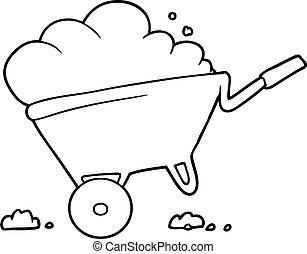 caricatura, carrinho de mão