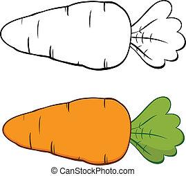 caricatura, carrot., jogo, cobrança