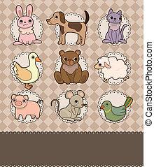 caricatura, cartão, animal