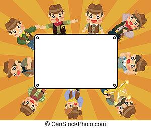 caricatura, cartão, boiadeiro