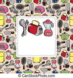caricatura, cartão, cozinha