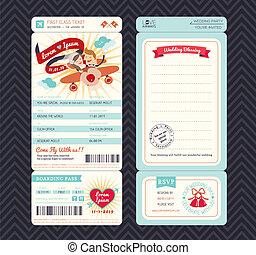 caricatura, cartão embarque, bilhete, convite casamento, modelo, vetorial