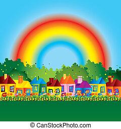 caricatura, casa de familia, con, arco irirs