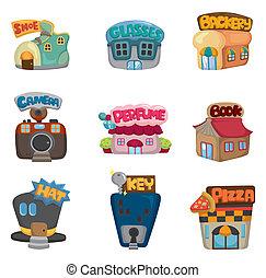 caricatura, casa, /, tienda, iconos, colección