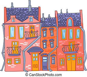 caricatura, casa