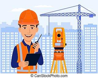caricatura, casas, engenheiro, personagem, agrimensor, sorrizo, cidade, cartógrafo, total, estação, vista, cadastral, medidas, equipment.
