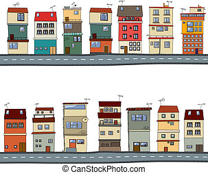caricatura, casas, ilustración