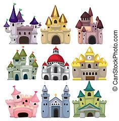 caricatura, castillo de cuento de hadas, icono