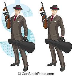 caricatura, caucásico, mafioso, con, tommy-gun
