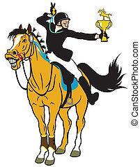 caricatura, cavaleiro, cavalo