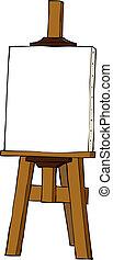 caricatura, cavalete