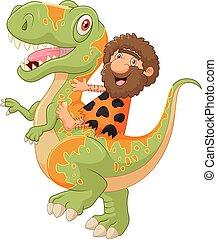 caricatura, cavernícola, equitación, un, dinosaurio