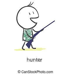 caricatura, cazador
