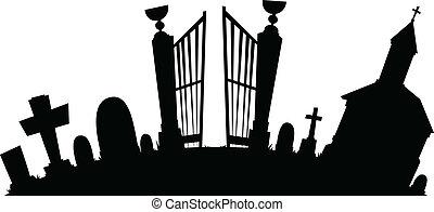 caricatura, cementerio