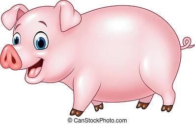 caricatura, cerdo, divertido, aislado