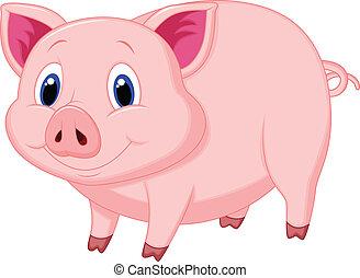 caricatura, cerdo, lindo
