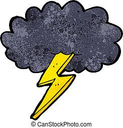 caricatura, cerrojo relámpago, y, nube