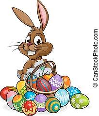 caricatura, cesta, huevos de pascua, conejito