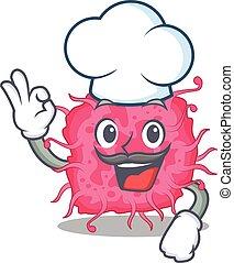 caricatura, chapéu, bactérias, cozinheiro, desenho, branca, desgastar, estilo, pathogenic