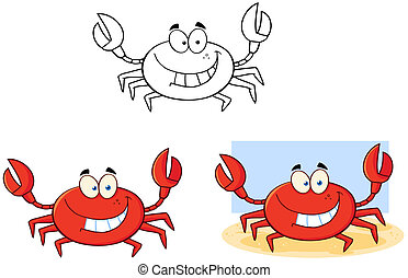 caricatura, character., carangueijo, cobrança