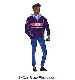 caricatura, character., negro, otoño, casual, clothes., plano, calle, aislado, estudiante, ilustración, hombre, moderno, moda, estilo, vector, joven, ropa de calle, moderno