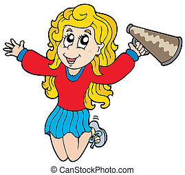 caricatura, cheerleader